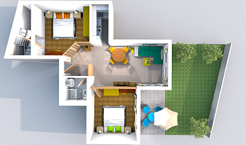 3D floor plan - aerial view to the Classic, with garden
