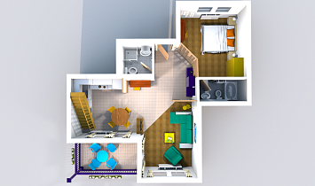 3D floor plan. Classic top view, without gallery