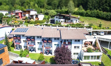 Aerial shot of the Classic apartments at SUN Matrei-tiltshift lens